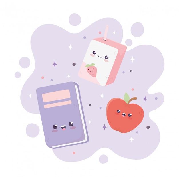 Kawaii, livre scolaire, pomme, et, boîte, jus, dessin animé