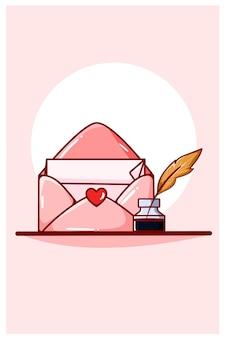 Kawaii love valentine lettre dans l'enveloppe avec illustration de dessin animé de stylo dip