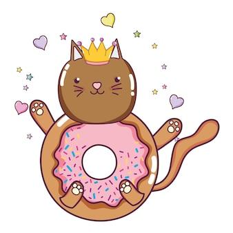 Kawaii mignon chat beignet avec des coeurs et des étoiles