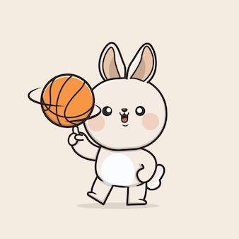 Kawaii mignon icône lapin lapin jouant illustration de mascotte de basket-ball