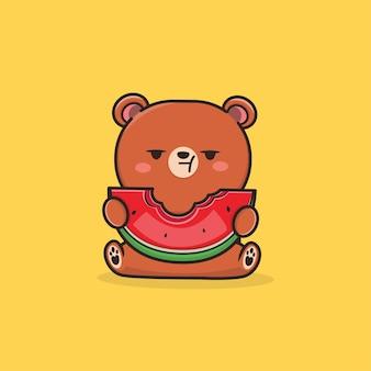 Kawaii mignon un ours mangeant une illustration de pastèque
