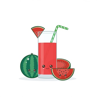Kawaii mignon souriant dessin animé jus de pastèque