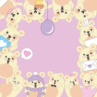 Kawaii mignons mignons animal cartoon frame décoratif