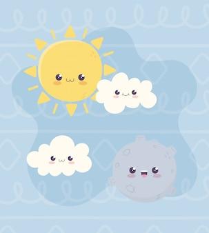 Kawaii, planète, soleil, et, nuages, caractère, dessin animé
