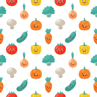 Kawaii seamless pattern cute funny cartoon légumes personnages isolés
