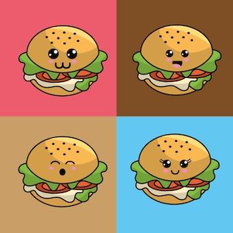 Kawaii set icône de burger avec de belles expressions