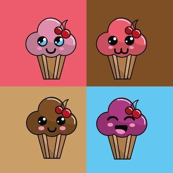 Kawaii set icône de gâteau de coupe avec de belles expressions