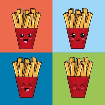 Kawaii set icône de pommes de terre frites avec de belles expressions