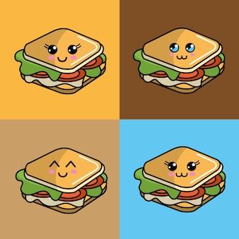 Kawaii set icône sandwich avec de belles expressions