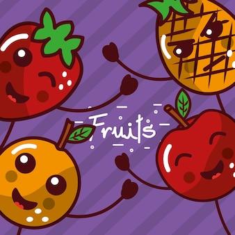 Kawaii Souriant Affiche De Dessin Animé De Fruits Vecteur Premium