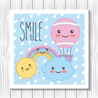 Kawaii sourire ballon à air chaud arc-en-ciel soleil nuage dessin animé