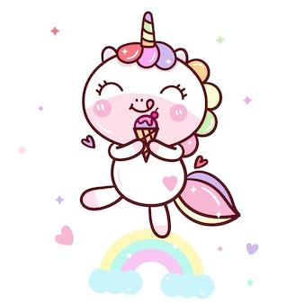 Kawaii unicorn vecteur de délicieuses glaces