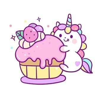 Kawaii unicorn vector mange un gâteau à muffins