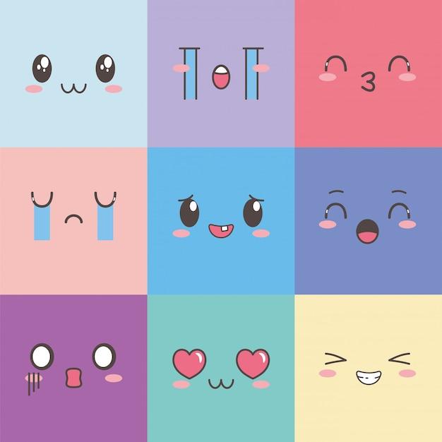 Kawaii visages expression dessin animé émoticône carré couleur ensemble
