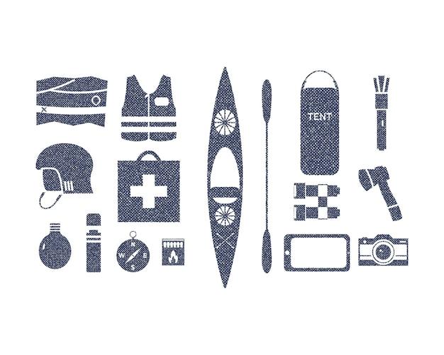Kayak et équipement d'aventure de camping en plein air dans un style rétro brut. équipement de kayak isolé sur blanc. à utiliser pour les infographies, sous forme d'icônes sur le site web, d'impressions graphiques de t-shirts. vecteur.