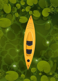 Un kayak jaune flotte dans un marais avec des feuilles de nénuphar
