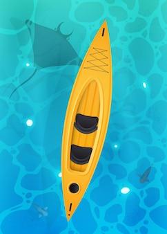 Kayak jaune avec pagaies
