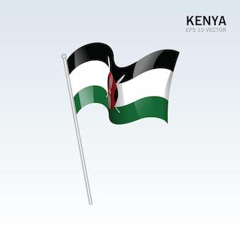 Kenya, agitant le drapeau isolé sur gris