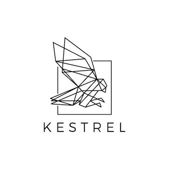 Kestrel carré oiseau géométrique polygonale logo noir vector icône illustration