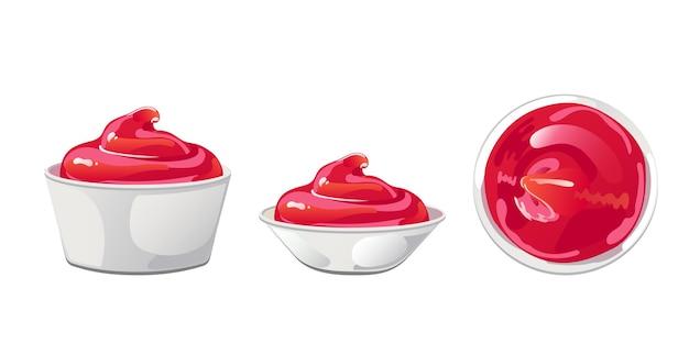 Ketchup aux tomates dans un bol. sauce rouge avec tourbillon dans un ramequin. vinaigrette aux épices, condiment en style cartoon plat. illustration vectorielle.