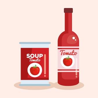 Ketchup et soupe aux tomates