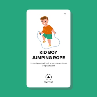 Kid boy jumping rope exercice sur le vecteur de l'aire de jeux. petite corde à sauter pour enfant d'âge préscolaire. caractère progéniture athlète formation sport fitness activité web illustration de dessin animé plat