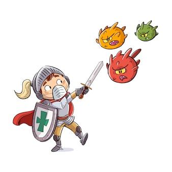 Kid chevalier lutte contre les virus