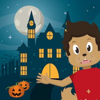 Kid en dessin animé d'halloween