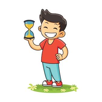 Kid avec dessin animé de sablier