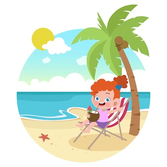 Kid fille jouant sur l'illustration de la plage