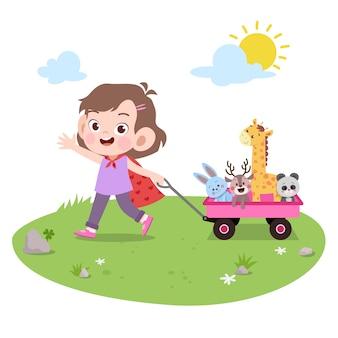 Kid fille jouer jouets vector illustration isolé