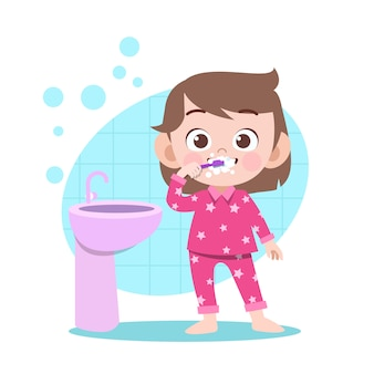 Kid fille se brosser les dents vector illustration