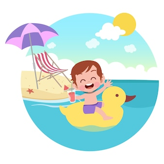 Kid garçon jouant sur l'illustration de la plage