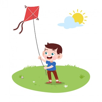 Kid garçon jouer au cerf-volant
