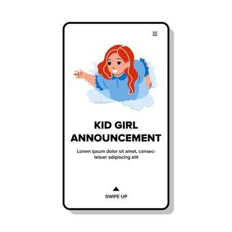 Kid girl annonce enfants vêtements vecteur. scène de théâtre d'annonce d'enfant d'écolière ou de cirque. personnage regardant à travers un trou de papier déchiré publicité web illustration de dessin animé plat