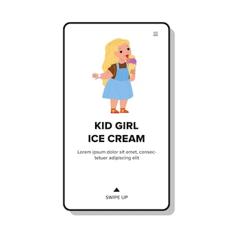 Kid girl eating ice cream délicieux dessert vector. un enfant d'âge préscolaire mange des aliments sucrés congelés à la crème glacée dans un parc d'attractions. caractère enfant appréciant nutrition web illustration de dessin animé plat