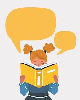 Kid girl lisant un livre avec bulle de dialogue.