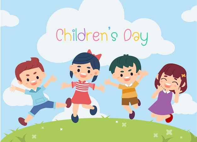 Kid heureux dans le thème de la journée des enfants. dans le jardin