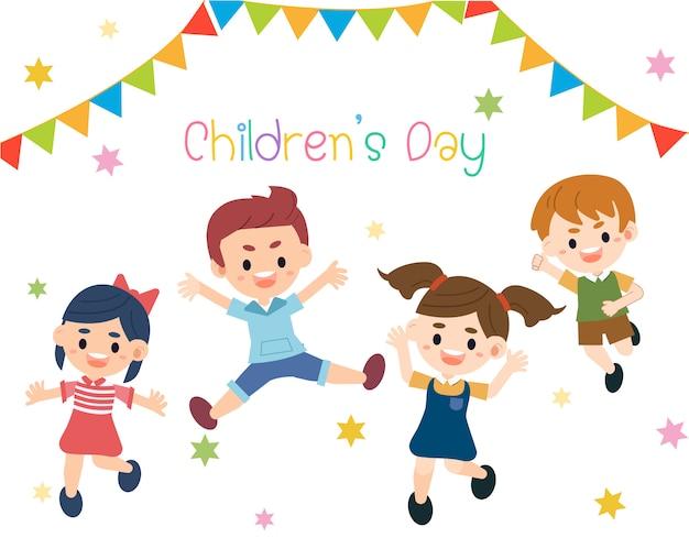 Kid heureux dans le thème de la journée des enfants