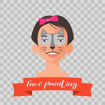 Kid avec des illustrations de peinture de visage de chat sur transparent