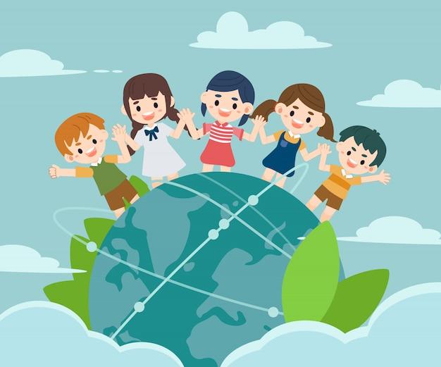 Kid avec le jour de la terre