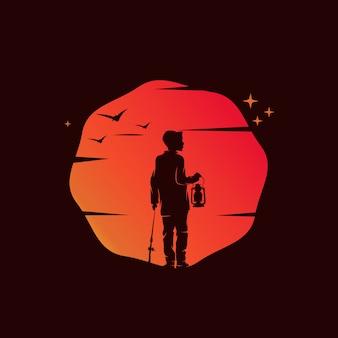 Kid avec lanterne sur l'illustration du coucher du soleil