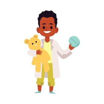 Kid Médecin Personnage De Garçon Souriant Afro-américain, Plat Vecteur Premium
