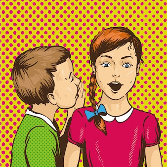 Kid murmurant des potins ou secret à son ami. les enfants se parlent