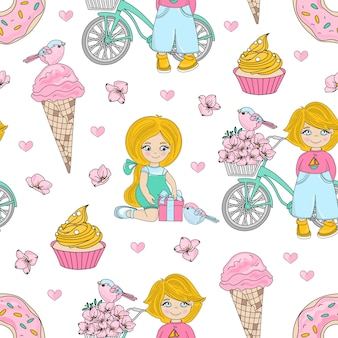 Kid party seamless pattern de valentine