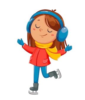 Kid patinage mignon personnage de dessin animé de fille de patineur sport d'hiver bonjour concept d'hiver