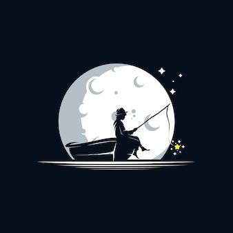 Kid pêchant dans le modèle de conception de logo de lune