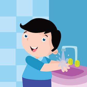 Kid se laver la main