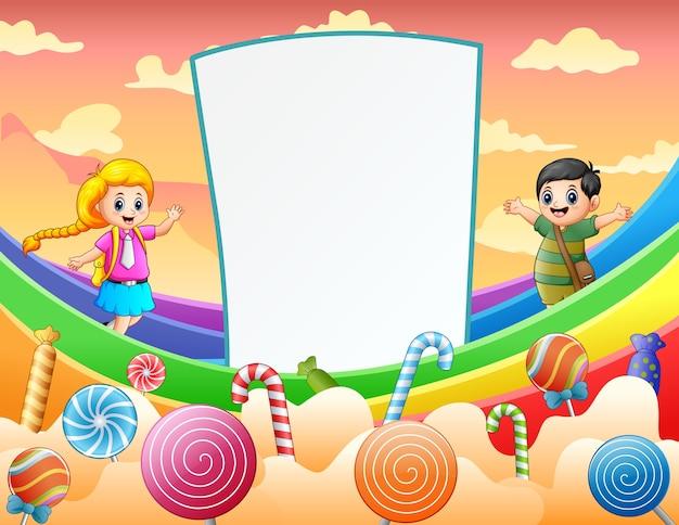 Kid et signe vierge sur l'illustration de l'arc-en-ciel