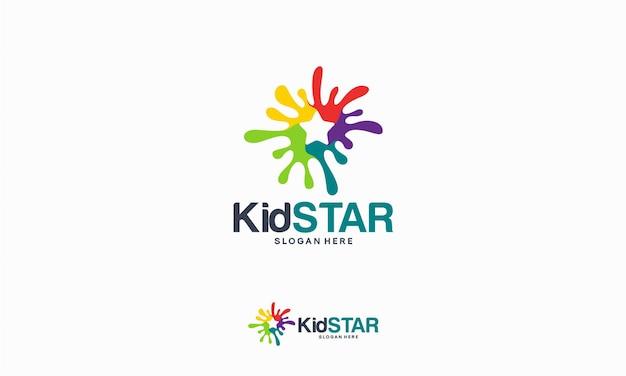 Kid star logo conçoit le concept, vecteur de modèle de logo star painting